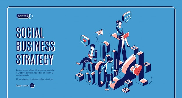 Social business growth isometric landing page Free Vector
