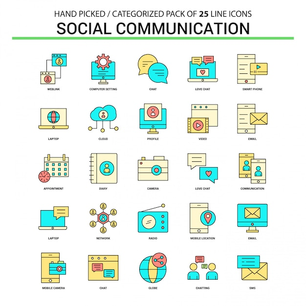 Social communication flat line icon set Free Vector