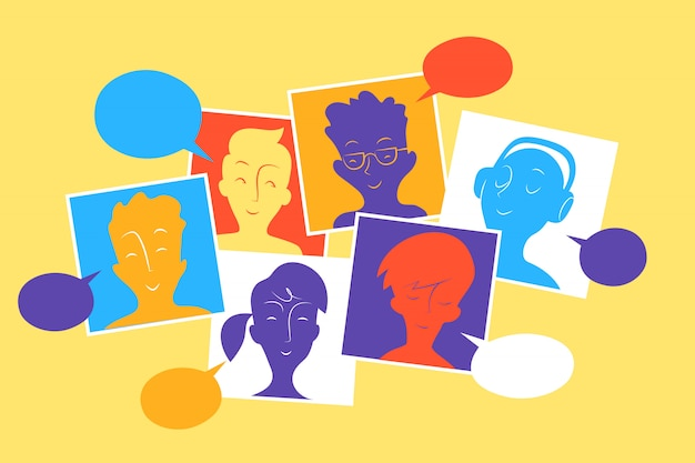 Social community members interact and share contents, messages and information Premium Vector