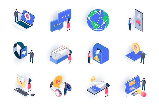 Social contacts isometric icons set. people sending email and chatting with digital devices flat illustration. online communication and messaging 3d isometry pictograms with people characters. Premium Vector