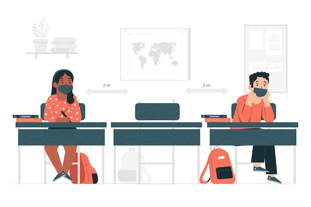 Социальная дистанция в школе концепции иллюстрации Бесплатные векторы