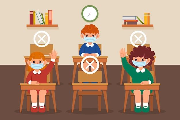 Социальная дистанция в школьной концепции Бесплатные векторы