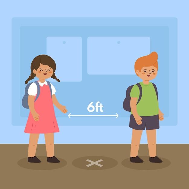 Социальная дистанция в школе Бесплатные векторы
