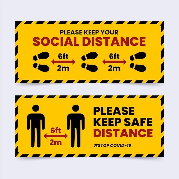 Insieme sociale del segno dell'insegna di distanza Vettore gratuito