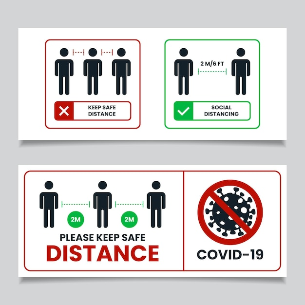 Segno di banner distanza sociale Vettore gratuito