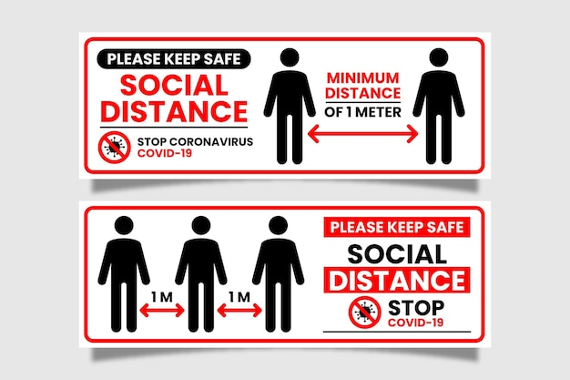 Social distance banner sign Free Vector