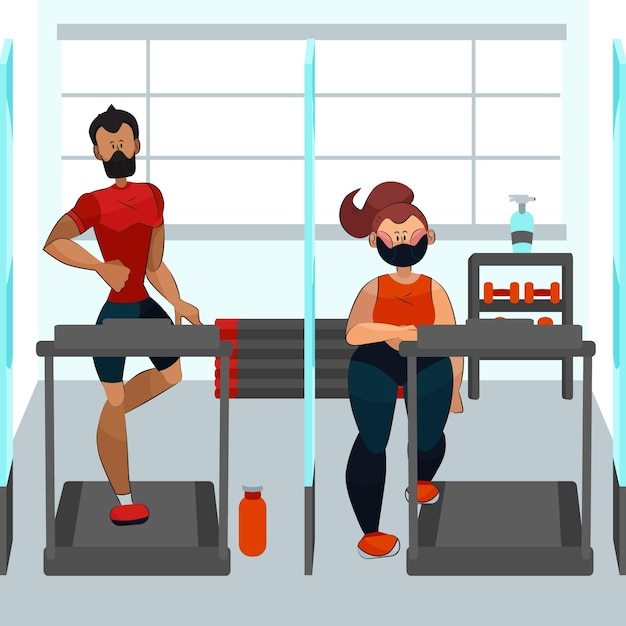 Social distance in the gym concept Premium Vector