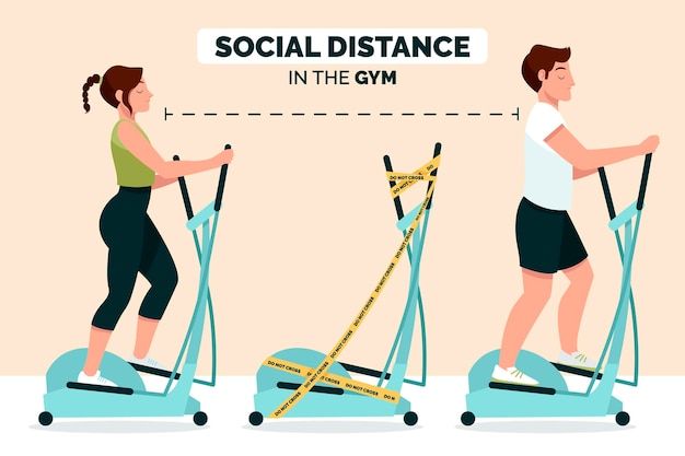 Social distance in the gym concept Free Vector