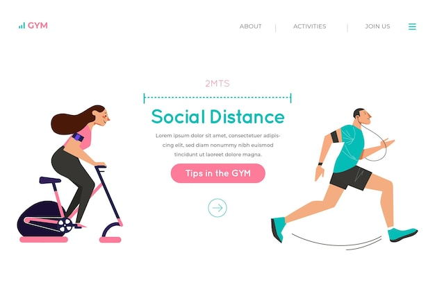 Social distance in the gym landing page Free Vector