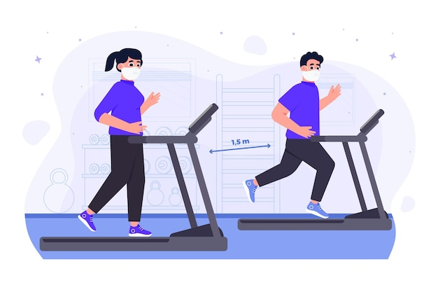 Social distance in the gym new normal Free Vector