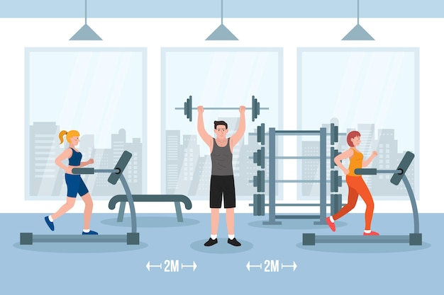 Social distance in the gym Free Vector