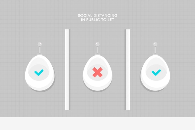 Социальная дистанция в представлении общественных туалетов Бесплатные векторы