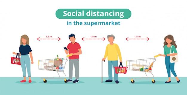 Социальная дистанция в супермаркете, люди в соответствии с тележками. Premium векторы