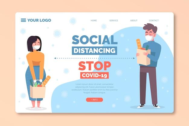 Pagina di destinazione della distanza sociale Vettore gratuito