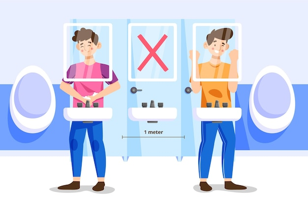 Distanza sociale nel concetto di servizi igienici pubblici Vettore gratuito
