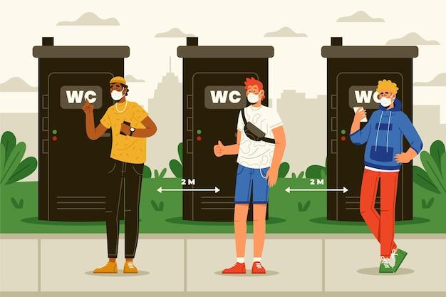 Distanza sociale nei bagni pubblici Vettore gratuito
