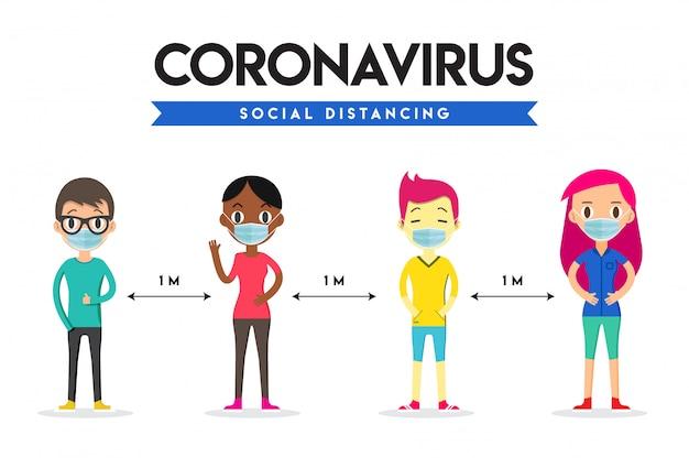 Социальная дистанция, безопасное пространство на расстоянии 1 метра. социальное дистанцирование. коронавирус. Premium векторы