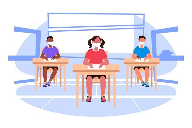 Social distance at school concept Free Vector
