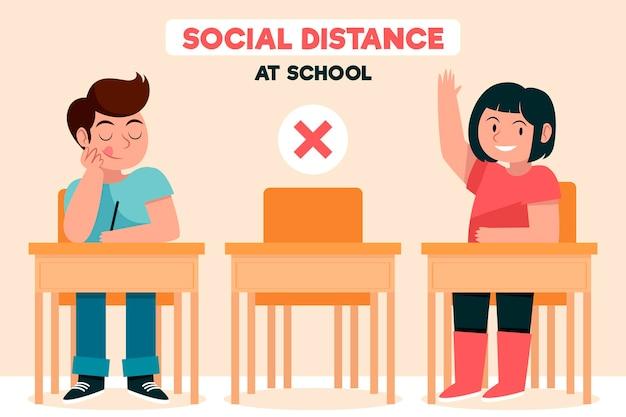 Social distance at school Free Vector
