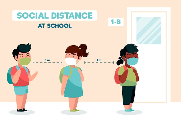 Social distance at school Free Vector