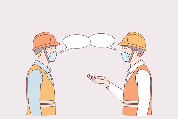 Social distance at work during pandemic concept. men workers in medical protective face masks standing and keeping distance during talking together on work in factory to prevent covid-19 virus Premium Vector