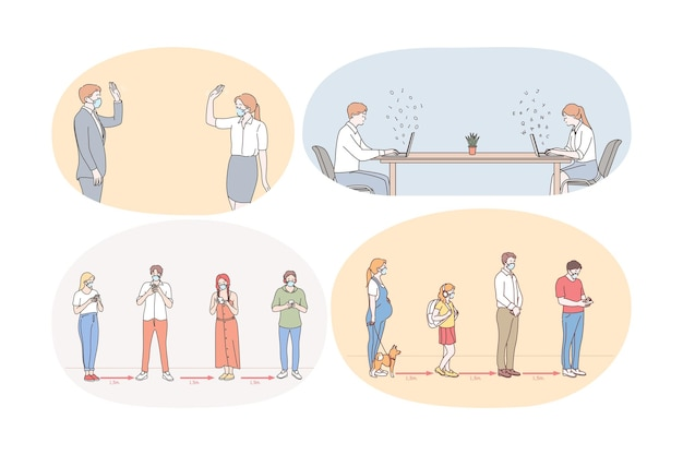 Social distance, working and living during covid-19 pandemic concept illustration Premium Vector