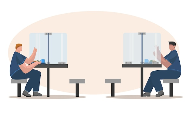 Социальное дистанцирование во время обеда в концепции иллюстрации обеденной комнаты офиса Premium векторы