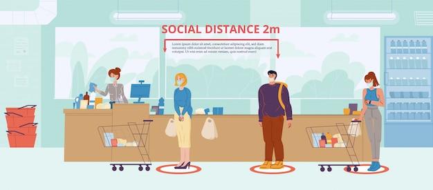 Социальная дистанция в супермаркете Premium векторы