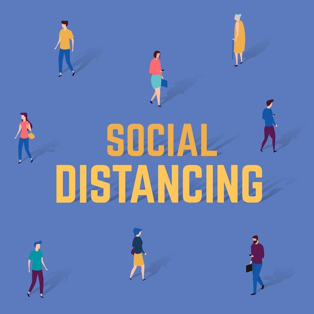 Social distancing background Free Vector