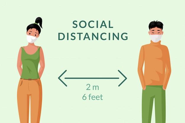 Социальное дистанцирование баннер концепции. молодой человек и женщина в лицевых масках держат иллюстрацию шаржа расстояния. Premium векторы