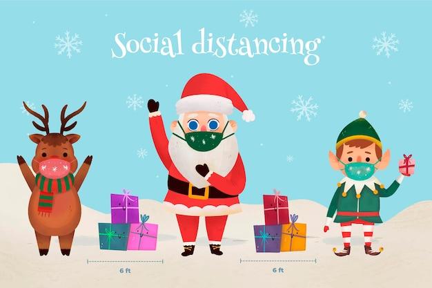 Социальное дистанцирование между рождественскими персонажами Premium векторы