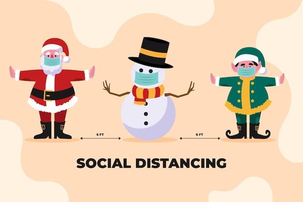 クリスマスキャラクターのグループ間の社会的距離の概念 無料ベクター