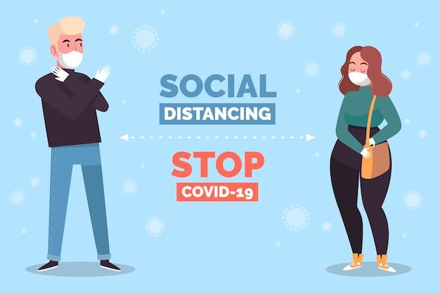 Illustrazione di concetto di allontanamento sociale Vettore gratuito
