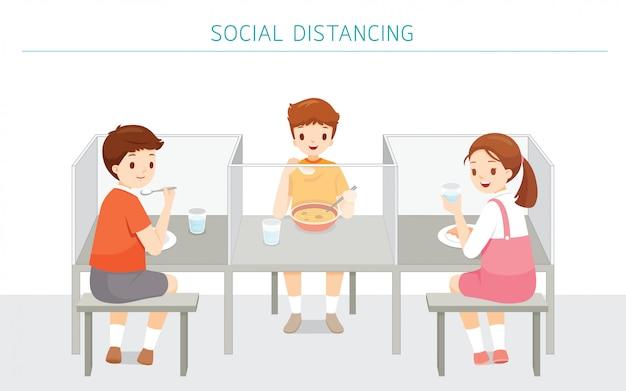 Концепция социального распределения, школьная столовая новый стиль для защиты от covid-19, болезнь коронавируса, дети, которые едят в школе Premium векторы
