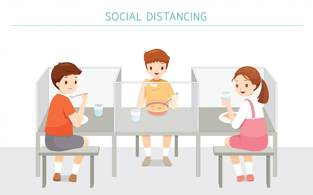 Social distancing concept, school cafeteria new style for protection from covid-19, coronavirus disease, children eating food at school Premium Vector