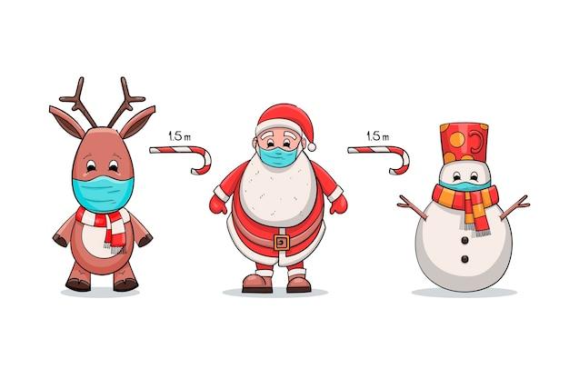 クリスマスのキャラクターと社会的な距離の概念 Premiumベクター