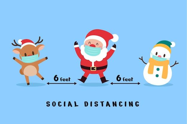 Концепция социального дистанцирования с рождественскими персонажами Бесплатные векторы