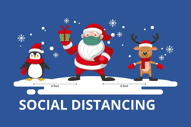Social distancing concept with christmas characters Free Vector