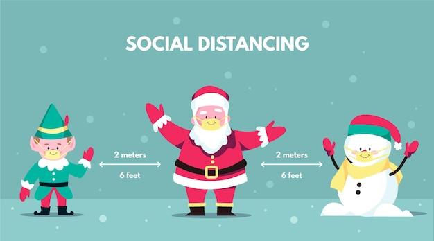 Concetto di allontanamento sociale con personaggi natalizi Vettore gratuito
