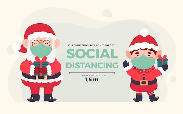 Концепция социального дистанцирования с рождественскими персонажами Premium векторы