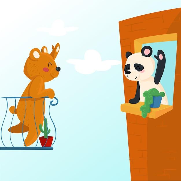 Concetto di allontanamento sociale con simpatici animali illustrati Vettore gratuito