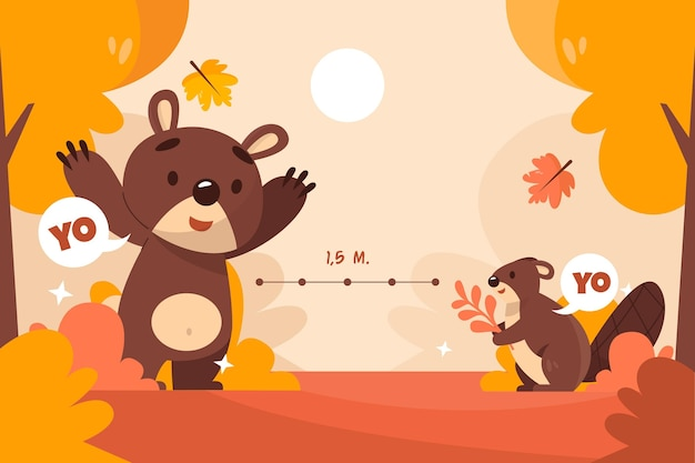 Social distancing concept with cute animals Free Vector