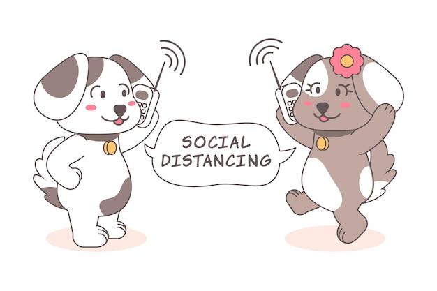 Concetto di allontanamento sociale con simpatici animali Vettore gratuito
