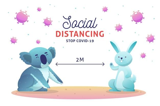 Концепция социального дистанцирования с милыми животными Бесплатные векторы