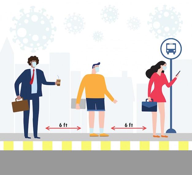 Covid-19の間にバス停で医療マスクを着用している人々との社会的距離の概念。コロナウイルスが新たな通常のライフスタイルを発生させる。 covid-19の病気の拡大を避けてください。図。 Premiumベクター