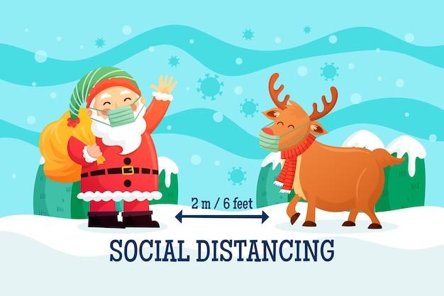 Концепция социального дистанцирования с оленями и дедом морозом Бесплатные векторы