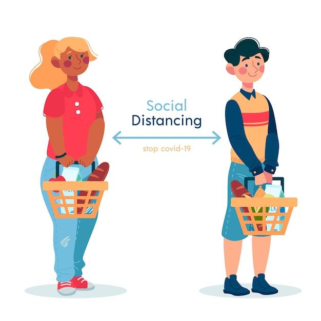 Concetto di distanza sociale covid19 Vettore gratuito