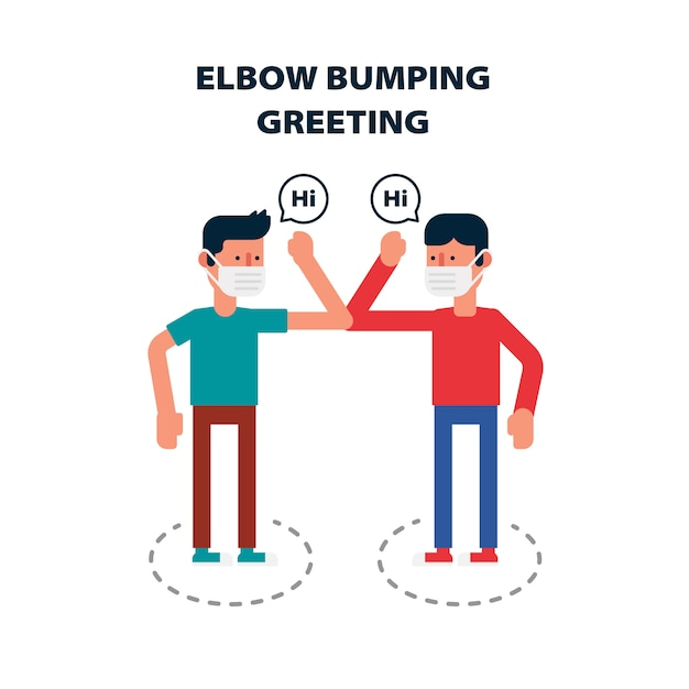 Social distancing, elbow bumping protect from covid-19 avoid the spread of coronavirus instead of greeting with hug or handshake Premium Vector