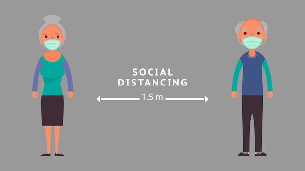 Социальное дистанцирование пожилых людей, сохраняя дистанцию снижение риска возникновения инфекционных и концептуальных кризисных ситуаций, с которыми мы сталкиваемся во всем мире благодаря коронавирусу coronavirus 2019-ncov Premium векторы