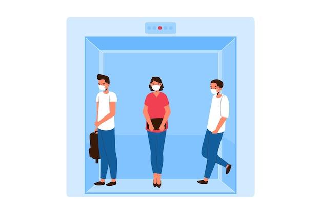 Distanziamento sociale in un tema ascensore Vettore gratuito